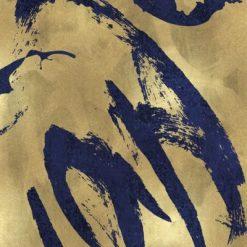 Pennellate blu su sfondo dorato