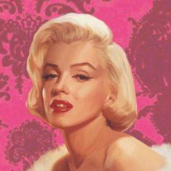 La famosa diva su uno sfondo rosa Marilyn Monroe