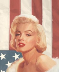 La famosa diva con la bandiera americana Marilyn Monroe