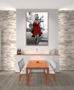 Ambientazione La famosa diva vestita di rosso Marilyn Monroe