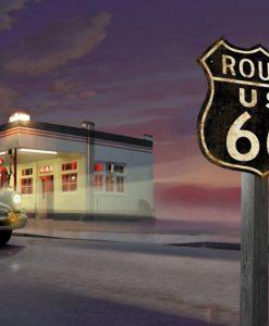 Dipinto di una stazione di servizio e macchina sulla Route 66