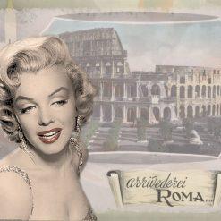 Ritratto della celebre attrice con alle spalle il colosseo