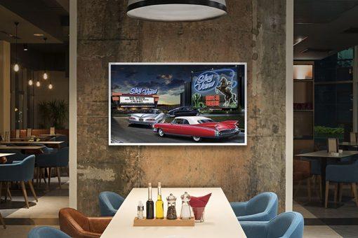 Dipinto di macchine in un drive in americano