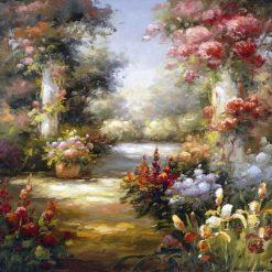 Luminoso dipinto di un sentiero fiorito