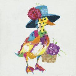 Dipinto fantasioso di un'anatra variopinta con fiori
