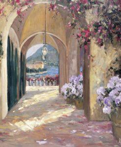 Dipinto di un portico con vasi di fiori