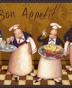 Gruppo di chef che reggono vassoi con varie portate