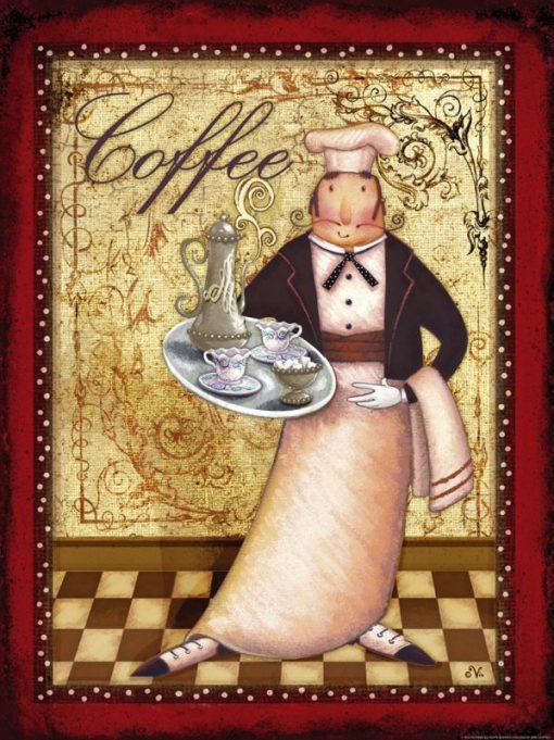 Chef che regge un vassoio con del caffè