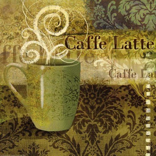 Tazza di caffè latte su sfondo decorato