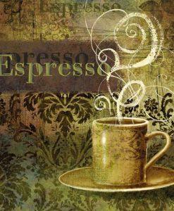 Tazza di caffè espresso su sfondo decorato