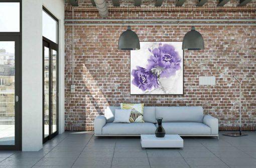 Dipinto di peonie turchesi effetto sfumato
