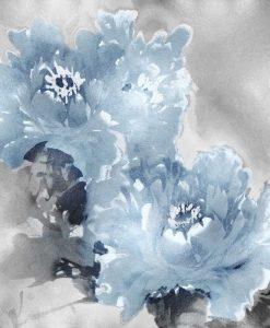 Dipinto di peonie azzurre su sfondo color argento