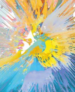 Schizzo di pittura azzurro e giallo