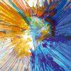 Schizzo di pittura blu e giallo