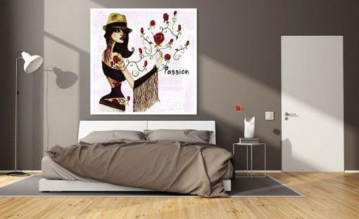 Dipinto alternativo di una ragazza e delle rose