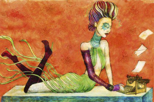 Dipinto alternativo di una ragazza con una macchina da scrivere