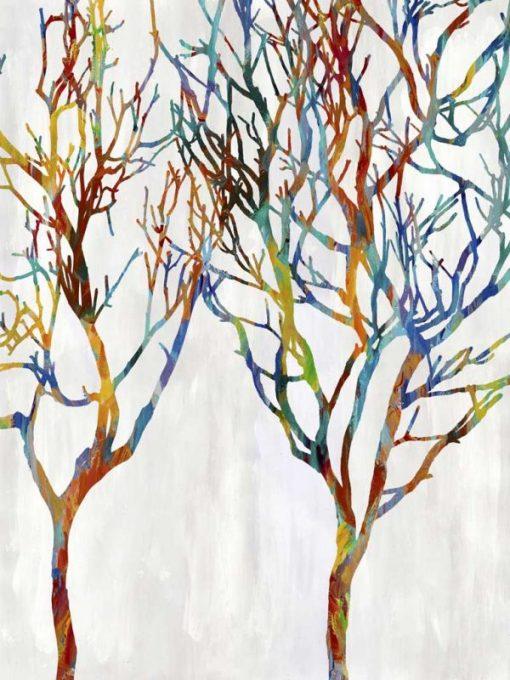 Rami d'albero colorati su sfondo bianco