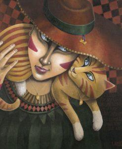 Dipinto di una donna con un gatto sulle spalle