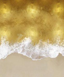 Onde dorate che arrivano a riva viste dall'alto