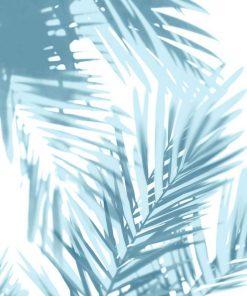Dipinto con foglie di palma azzurre con effetto sovrapposizione