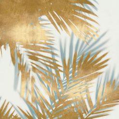 Dipinto con foglie di palma azzurre e oro con effetto sovrapposizione