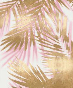 Dipinto con foglie di palma rosa e oro con effetto sovrapposizione