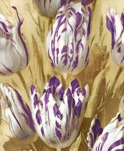 Tulipani striati bianchi e viola su sfondo dorato