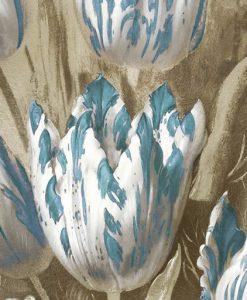 Tulipani striati bianchi e blu su sfondo argentato