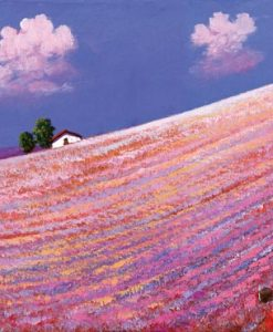 Collina fiorita con un casale in lontananza