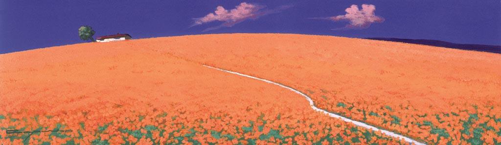 Collina fiorita con un sentiero che porta a un casale