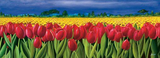 Campi di tulipani e girasoli
