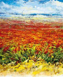 Dipinto astratto di un campo fiorito di rosso