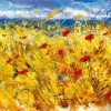 Il vento soffia su un campo con papaveri