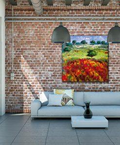 Ambientazione soggiorno Dipinto con campagna fiorita in stile impressionista