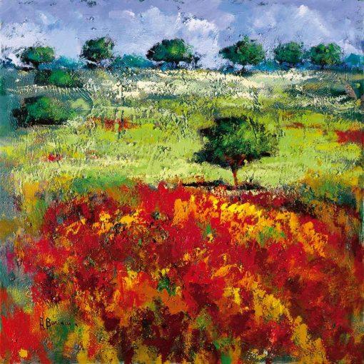 Dipinto con campagna fiorita in stile impressionista