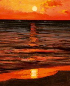 Tramonto rosso sul mare