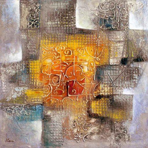 Opera astratta con dettagli su sfondo arancio