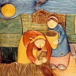 Contadini al lavoro nei campi di grano