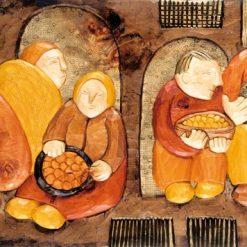 Persone riunite in un borgo medievale