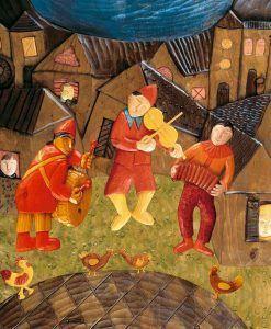 Musicisti che suonano in un borgo medievale