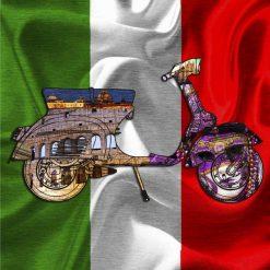 Vespa con elementi grafici e bandiera italiana