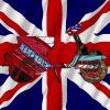 Vespa con elementi grafici e bandiera del Regno Unito