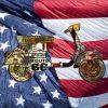 Vespa con elementi grafici e bandiera degli Stati Uniti