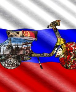 Vespa con elementi grafici e bandiera russa