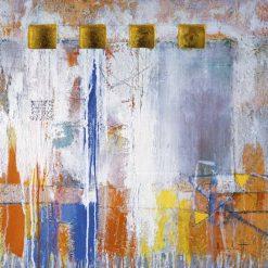 Nicchie dorate in un dipinto astratto
