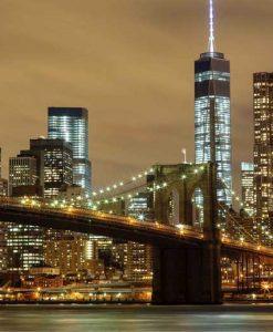 Fotografia notturna del ponte di Brooklyn a New York