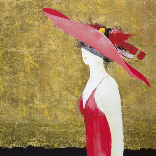 Ritratto di una donna con cappello rosso