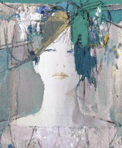 Ritratto astratto di una ragazza con fiocco nei capelli