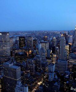Vista notturna di Manhattan