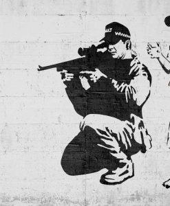 Murales del famoso artista Banksy: Poliziotto con bambino